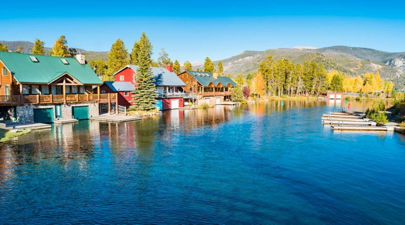 Cottages in the town of Grand Lake in Rocky Mountains National Park Colorado USA on a sunny day.