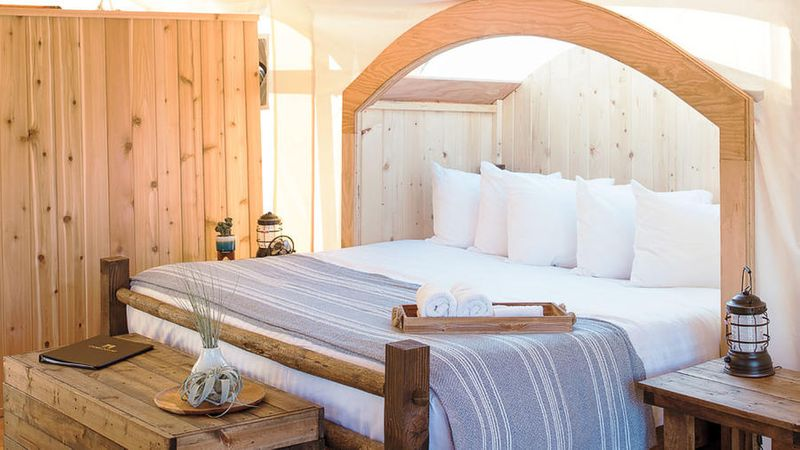 Inside a glamping tent at Under Canvas Zion
