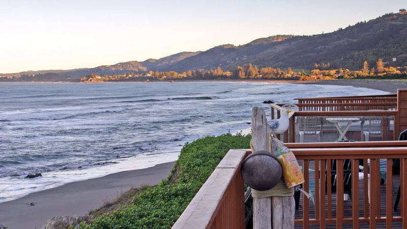 Cozy cabins overlook the ocean at White Rock Resort in Smith River, CA