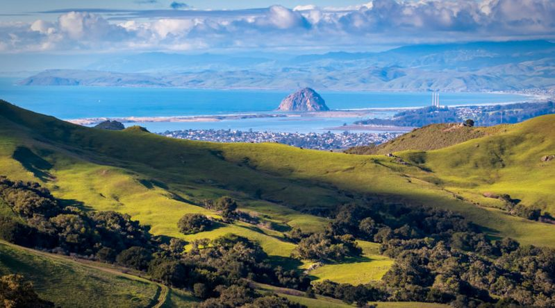 View Of Morro Bay From a Country Road in California's Central Coast, great for affordable Thanksgiving getaways