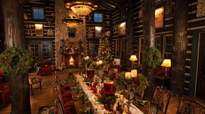 Inside Cloud Camp decorated for Christmas at the Broadmoor Resort in Colorado Springs