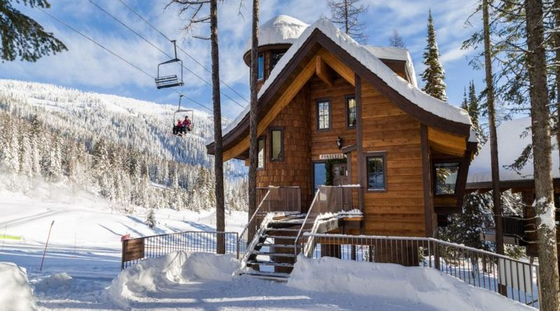 Treehouses are cozy cabins outside of Whitefish next to the slopes