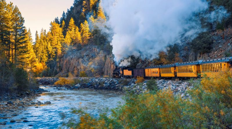 Best fall color in Colorado on a train in Durango