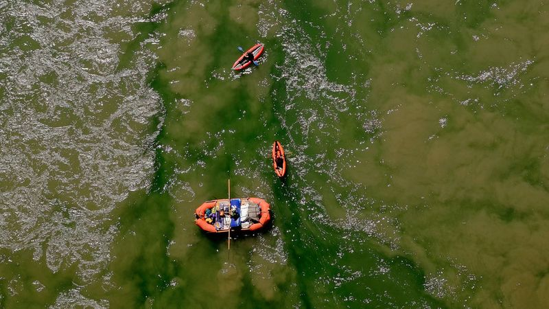 Rafters paddling on the Colorado River at the Grand Canyon National Park off Highway 89