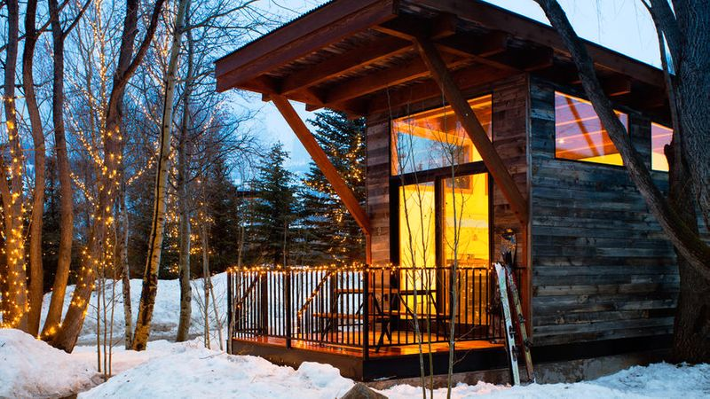 A cabin in the snow at Fireside Resort in Jackson Hole