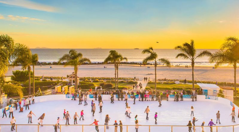 Ice skating rink in front of the beach at the Hotel del Coronado in San Diego