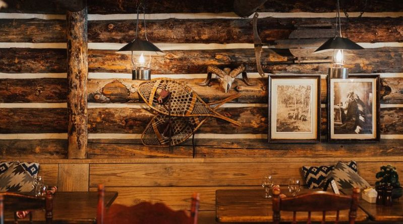 Inside the wooden Bully Ranch restaurant at Sonnenalp Resort in Vail