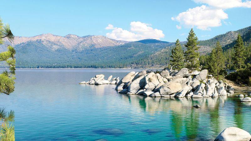 Clear blue water in Lake Tahoe in the California Sierra Nevada