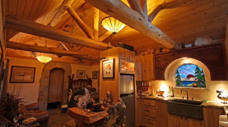 inside a cozy cabin at Mono Hot Springs Resort