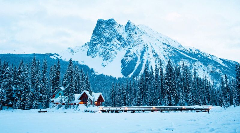 Emerald Lake Lodge in B.C.covered in snow
