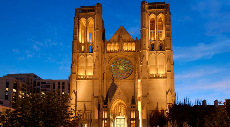 Grace Cathedral at Nob Hill, a neighborhood with vampire and ghost tours in San Francisco shot at dusk