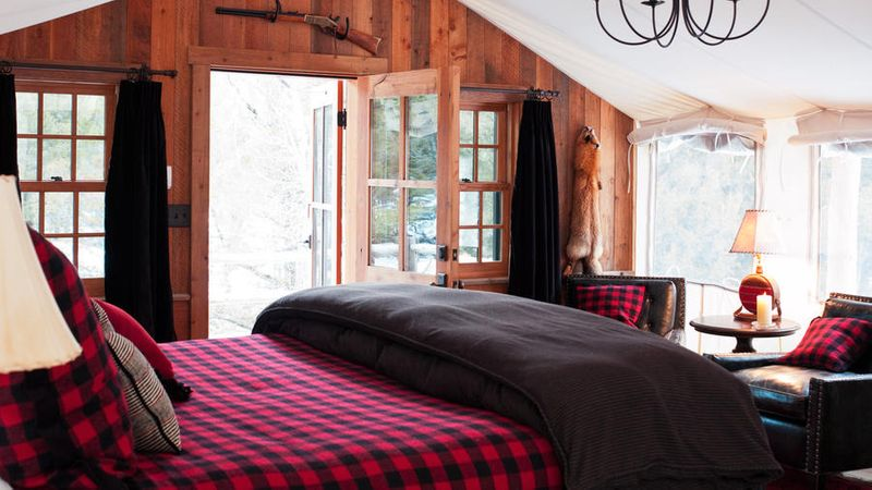 Inside one of the cozy rooms inside winter lodge The Ranch at Rock Creek