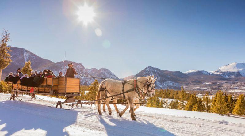 Two Below Zero sleigh ride in wooden sleigh in the snow Frisco, Colorado