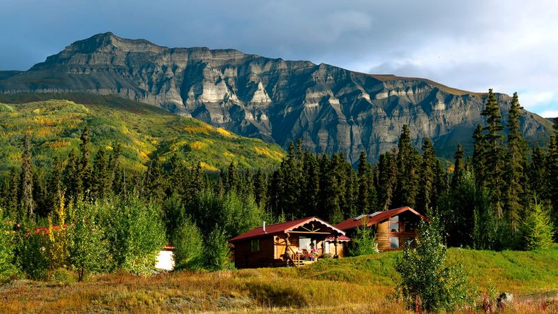 Cozy cabins in Wrangell St. Elias in the Alaska wilderness