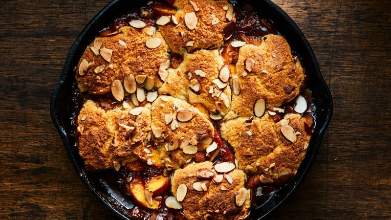 Peach and Bourbon Cobbler with Almond Spoon Cake