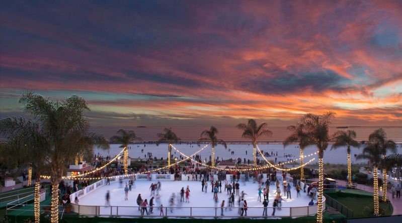 The ice skating rink at the Hotel Del Coronado is photographed at sunset