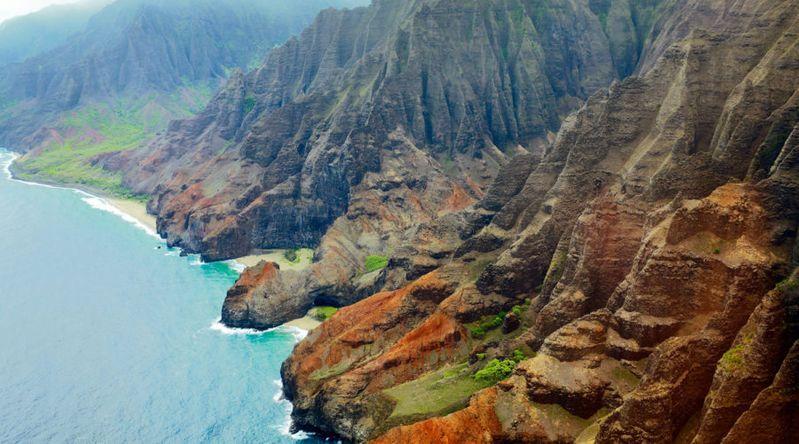 Fly over Nā Pali Coast in Kauai, Hawaii
