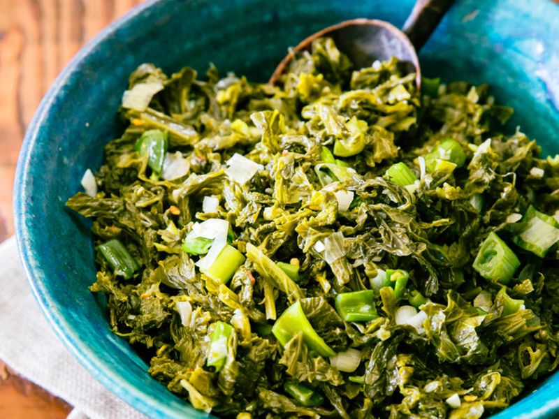 Braised Mustard Greens with Spring Onions