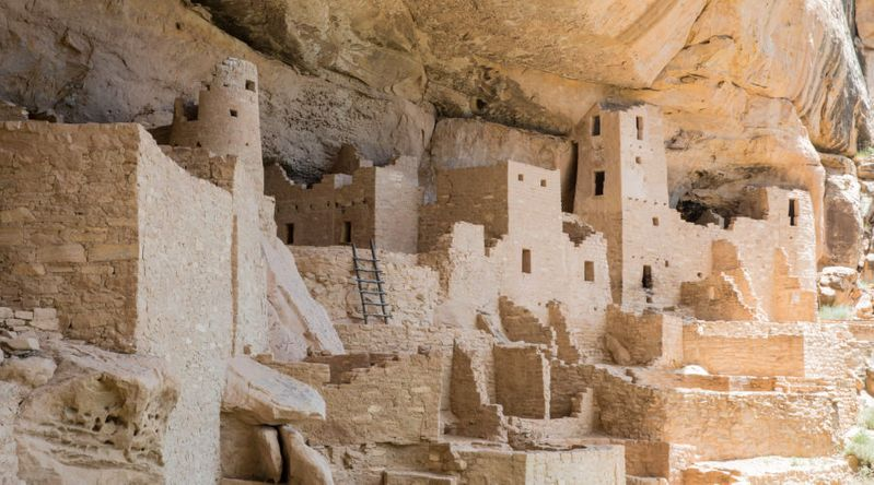 Adobe cliff dwellings at the UNESCO-protected Mesa Verde National Park in Colorado