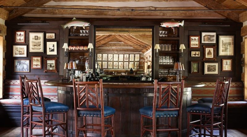 Inside the luxurious bar fish camp at the Taylor Ridge Lodge in Crested Butte