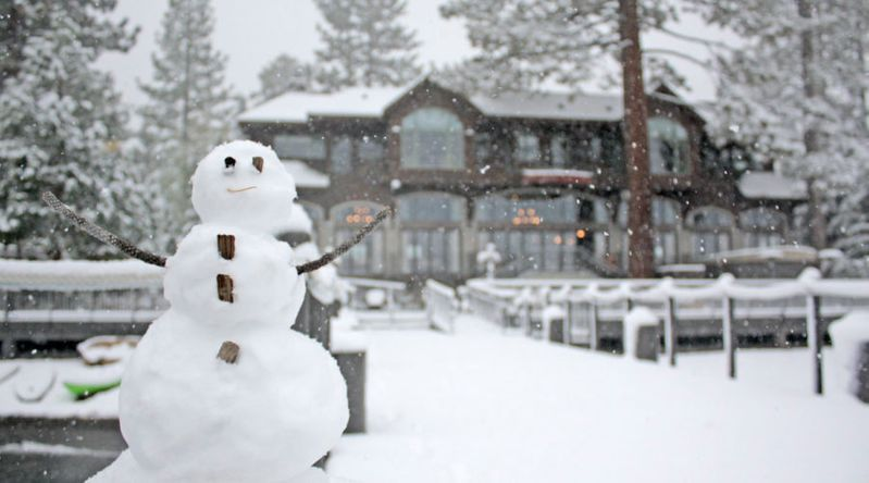 A snowman outside the Westshore Cafe & Inn in Homewood, CA