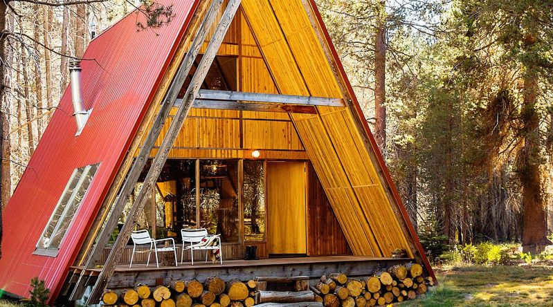 Cozy cabins with A-frame design and red roof near Yosemite