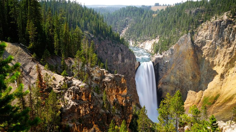 Waterfall at Yellowstone National Park off Highway 89