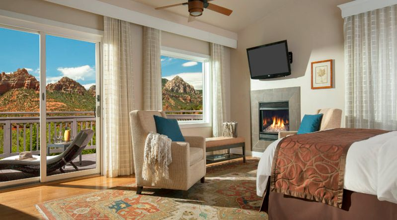 Inside a room at the L'Auberge de Sedona with views of the red rock mountains