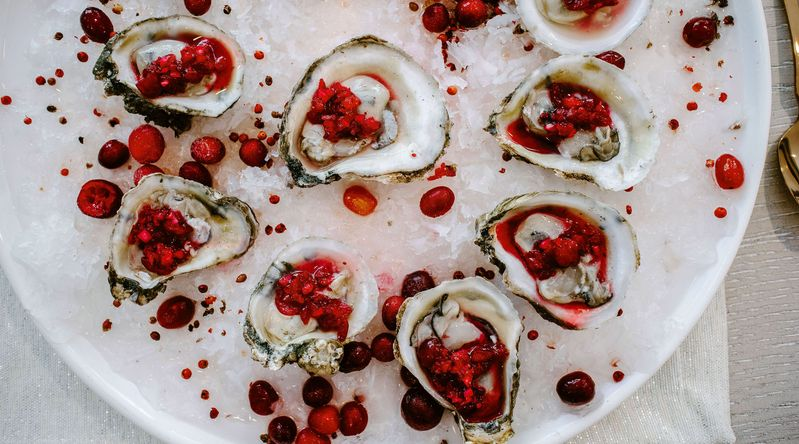 Fresh Oysters with Pickled Cranberry Mignonette