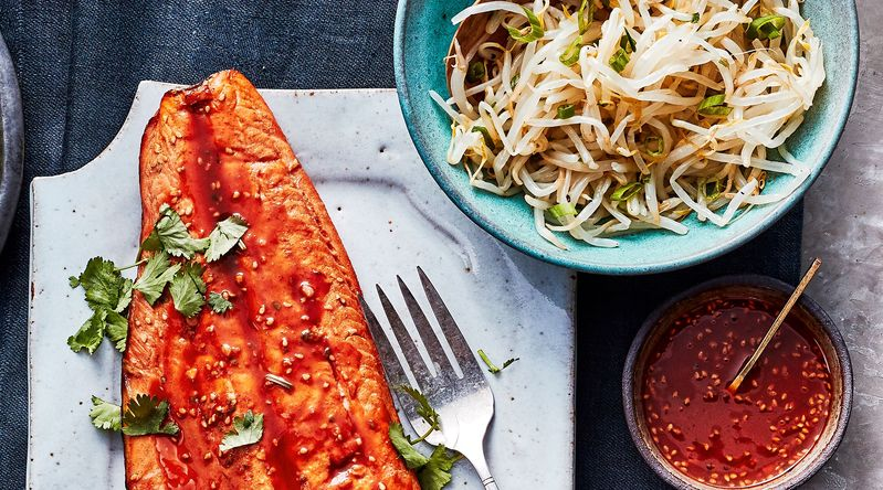Grilled Crisp-Skinned Salmon with Gochujang Marinade
