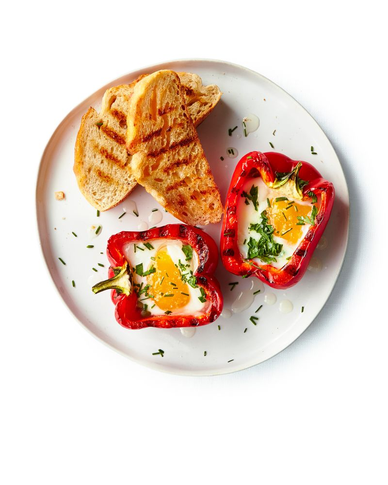 Grilled Peppers with Eggs