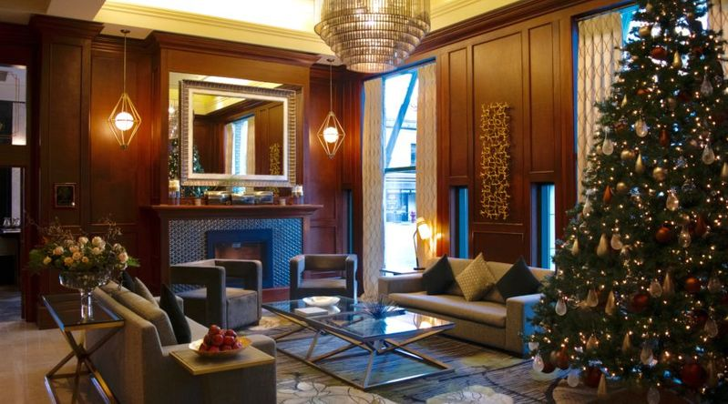 The decorated lobby at the Magnolia Hotel in B.C. for the holidays