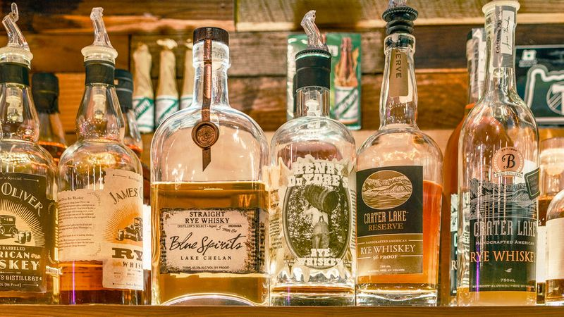 Rows of local spirits at The Thirsty Sasquatch in Vancouver, Washington