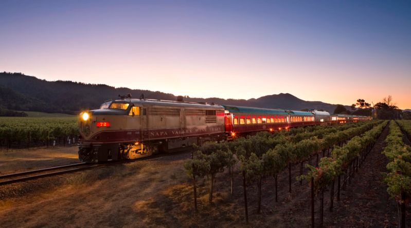 Train riding through the vineyards in Napa on a California wine country tour