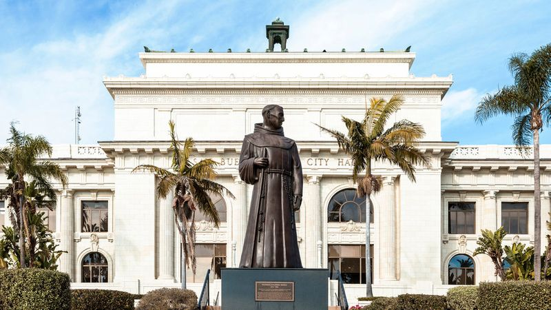 Statue of Juniper Serra in front of City Hall in Ventura, California