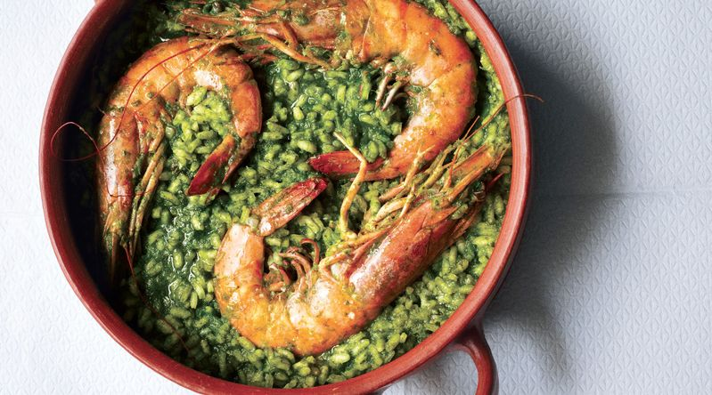 Prawns with Green Rice