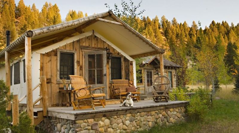 Cozy cabins with wood and canvas wall at Ranch at Rock Creek in Montana