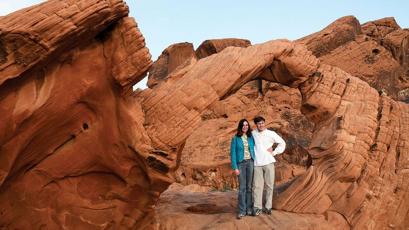 Couple hiking at Valley of Fire State Park in Nevada