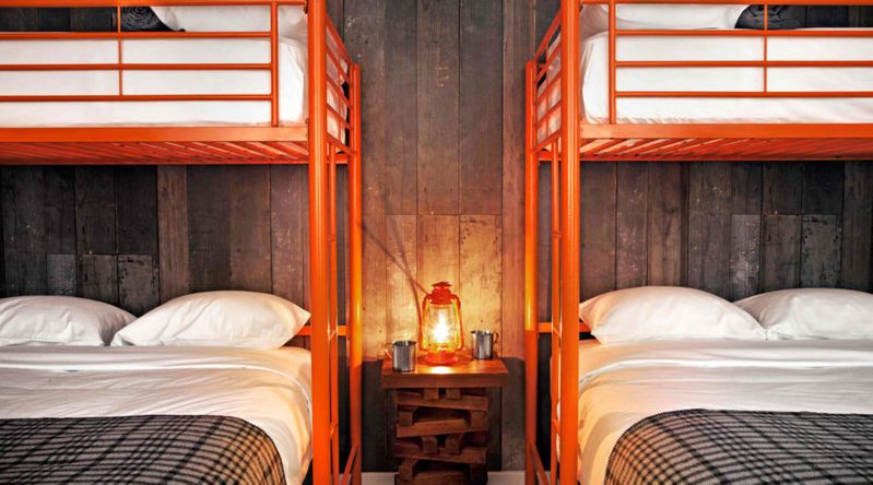 Bunkbeds inside the Basecamp Hotel in South Lake Tahoe