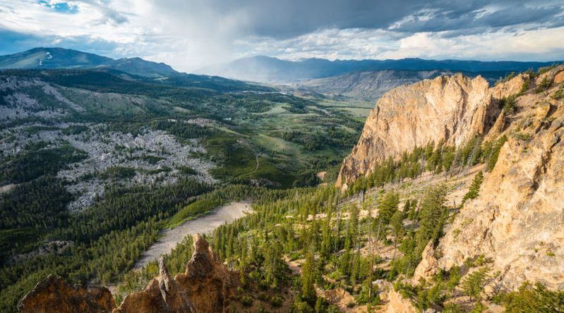 View from Bunsen Peak Trail with view of Sepulcher Mountain at Yellowstone