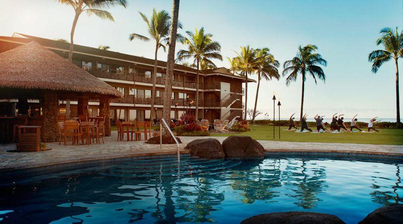 The pool and lawn at Ko'a Kea resort in Kauai