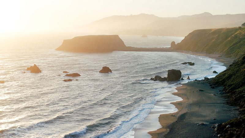 The dramatic shoreline at sunset in Sonoma County