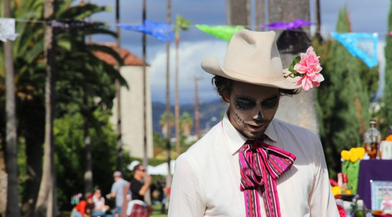 Man in Day of the Dead costume at Hollywood Forever in LA
