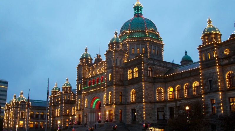 The Parliament Building in Victoria Canada decked out with Christmas lights
