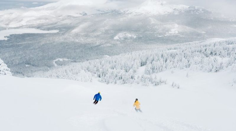 Two people skiing down an all-white snow-covered mountain with rime trees and fog in Oregon