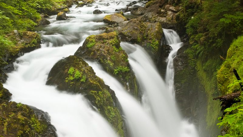 Rushing Sol Duc Falls at Olympic National Park, on one of the best hikes in the park