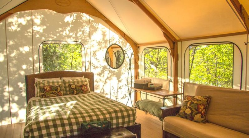 Cozy cabins and glamping tents at Lakedale Resort in the San Juan Islands