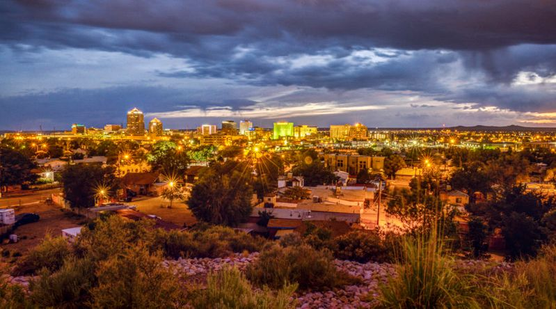 Skyline at dusk in Albuquerque, a great city to visit for Thanksgiving