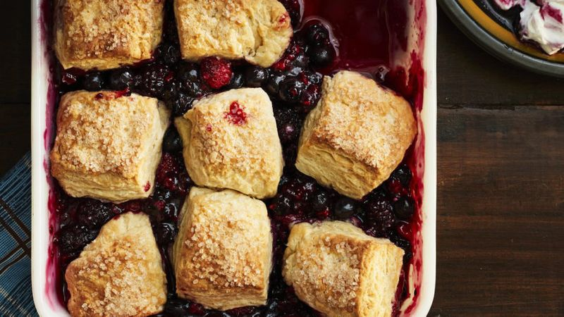 Summer Berry Cobbler with Sour Cream Biscuits