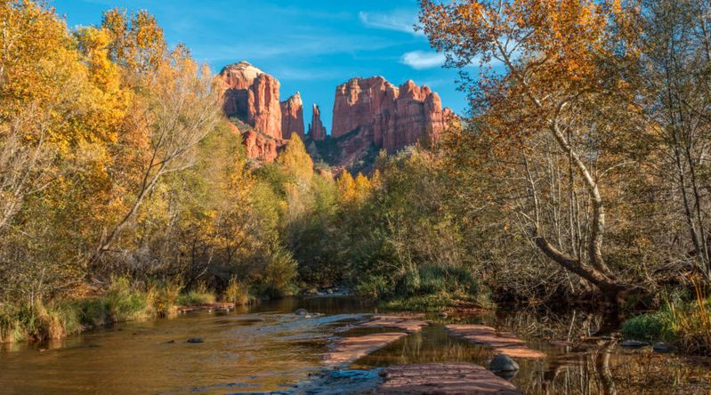 Beautiful fall landscape of Cathedral Rock and Oak Creek on a great fall hike in Sedona, Arizona